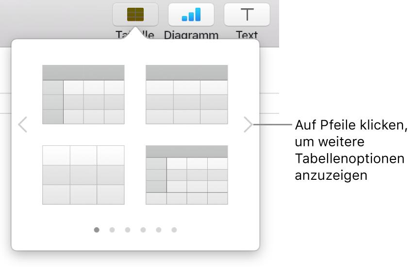 Das Menü zum Hinzufügen von Tabellen mit Navigationspfeilen