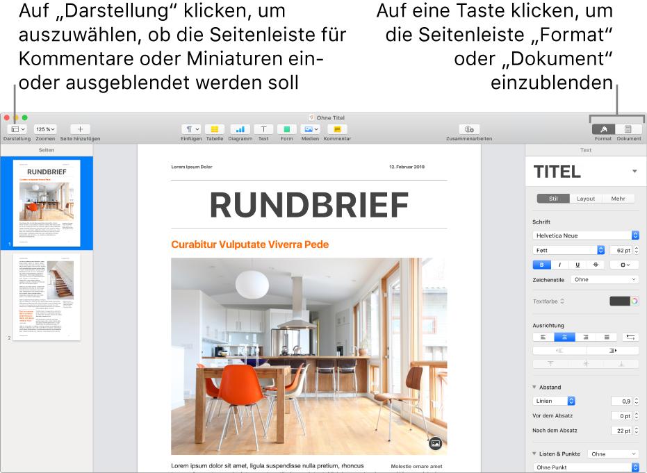 """Das Pages-Fenster mit Beschreibungen der Tasten für die Menüs """"Darstellung"""" """"Format"""" und """"Dokument"""" in der Symbolleiste. Geöffnete Seitenleisten auf der linken und rechten Seite"""