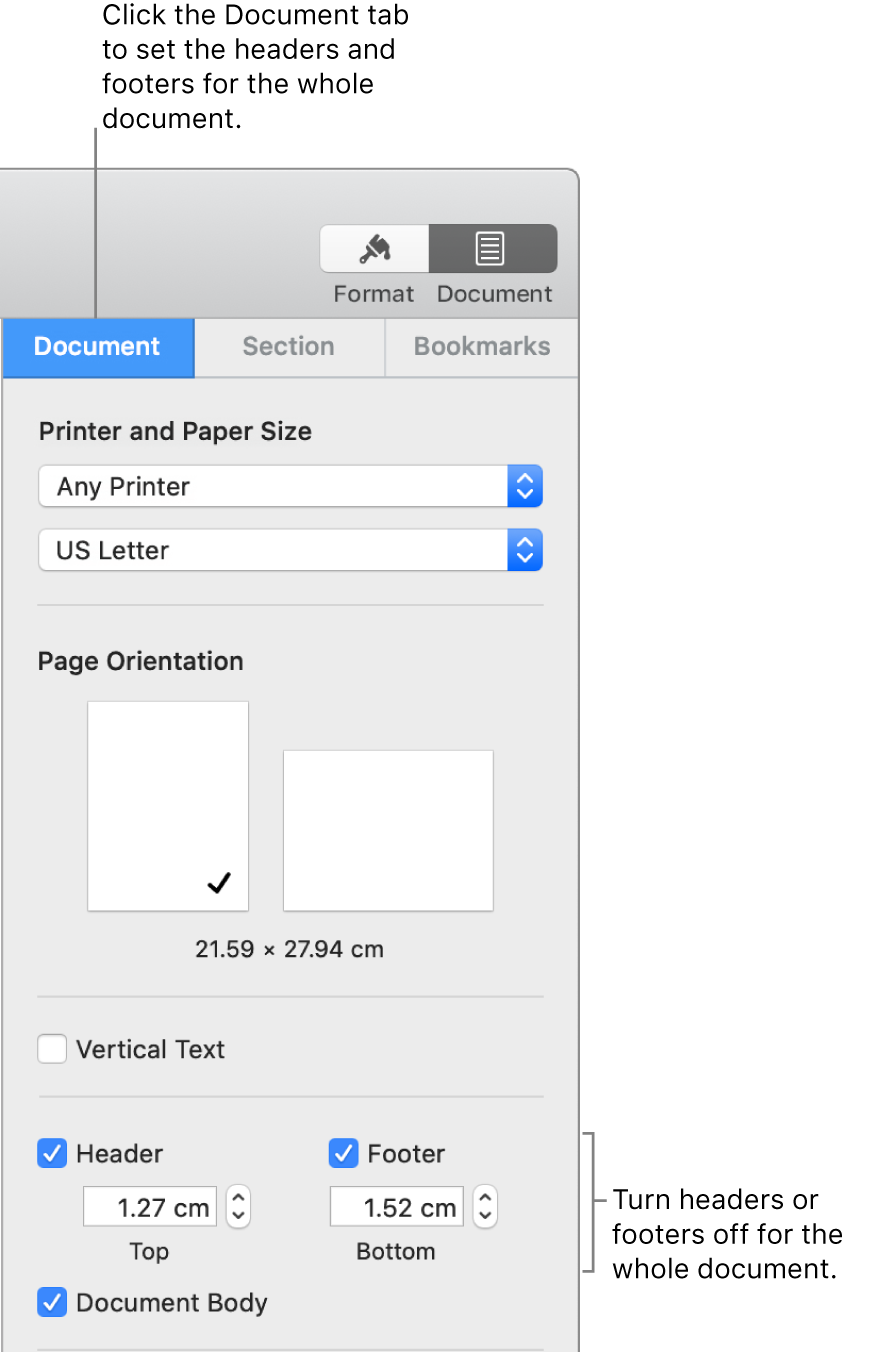 The Document sidebar with the Document tab at the top of the sidebar selected. Separate tick boxes for Header and Footer are selected, and below each are arrows to change the distance from of headers and footers from the top and bottom of the page.