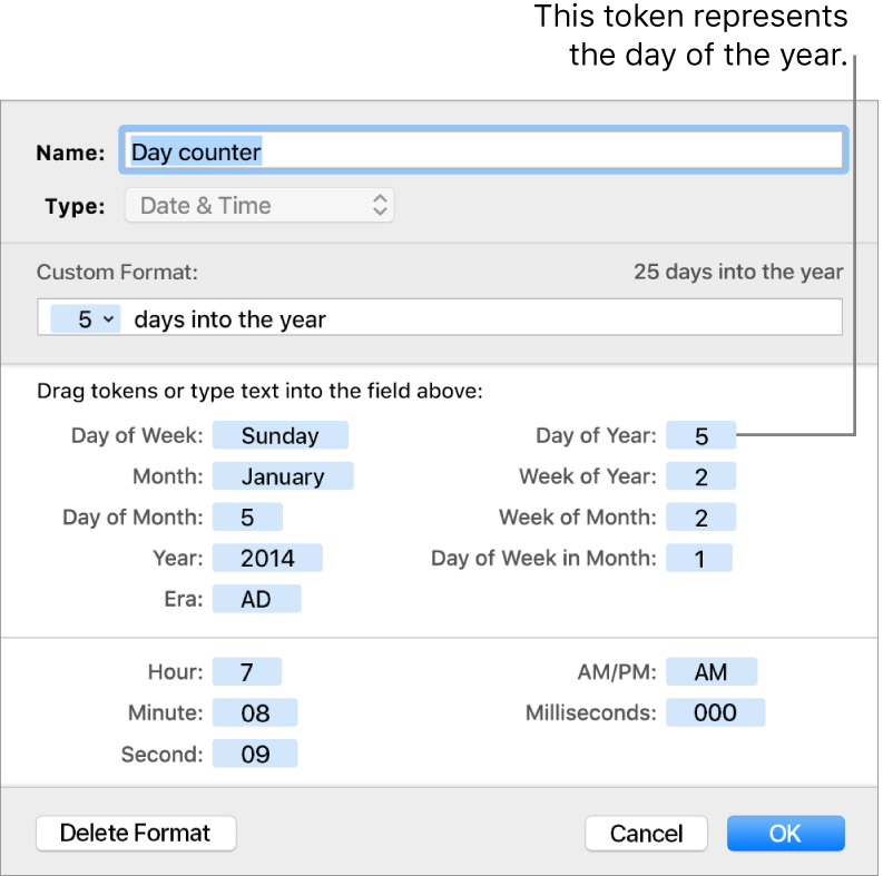 The custom cell format window with controls for choosing custom date and time formatting.