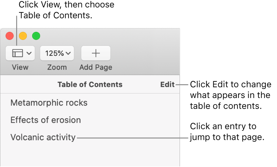 The table of contents on the left side of the Pages window with an Edit button at the top-right corner of the sidebar and table of contents entries in a list. The View button is in the top-left corner of the Pages toolbar, above the sidebar.