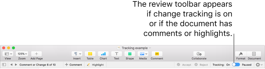 The Pages toolbar with change tracking turned on and the review toolbar below the Pages toolbar.