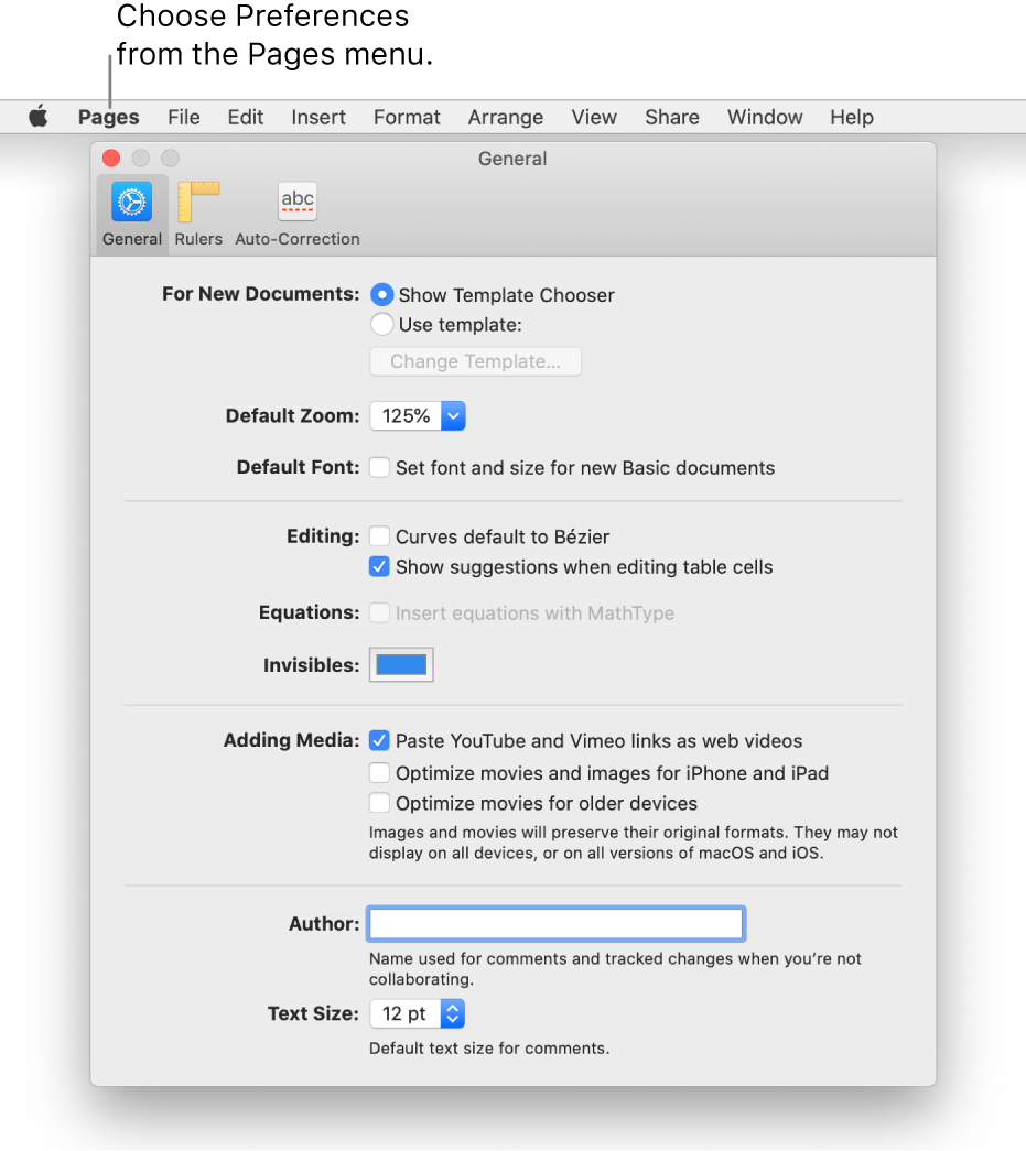 The Pages preferences window open to the General pane.