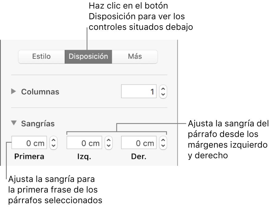 Controles de la sección Disposición de la barra lateral Formato para ajustar la sangría de la primera línea.