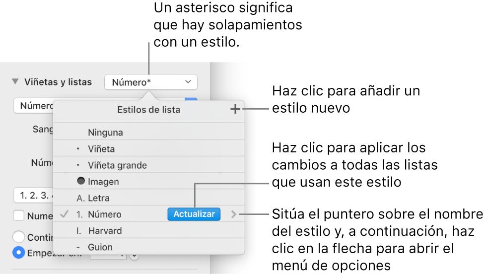 """Menú desplegable """"Estilos de lista"""" con un asterisco que indica una modificación y llamadas al botón """"Nuevo estilo,"""" así como un submenú de opciones para gestionar estilos."""