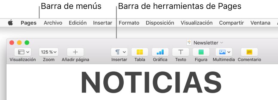 """La barra de menús situada en la parte superior de la pantalla con los menús Apple, Pages, Archivo, Edición, Insertar, Formato, Disposición, Visualización, Compartir, Ventana y Ayuda. Debajo de la barra de menús hay un documento abierto de Pages con los botones Visualización, Zoom, """"Añadir página,"""" Insertar, Tabla, Gráfica, Texto, Figura, Multimedia y Comentario de la barra de herramientas por la parte superior."""