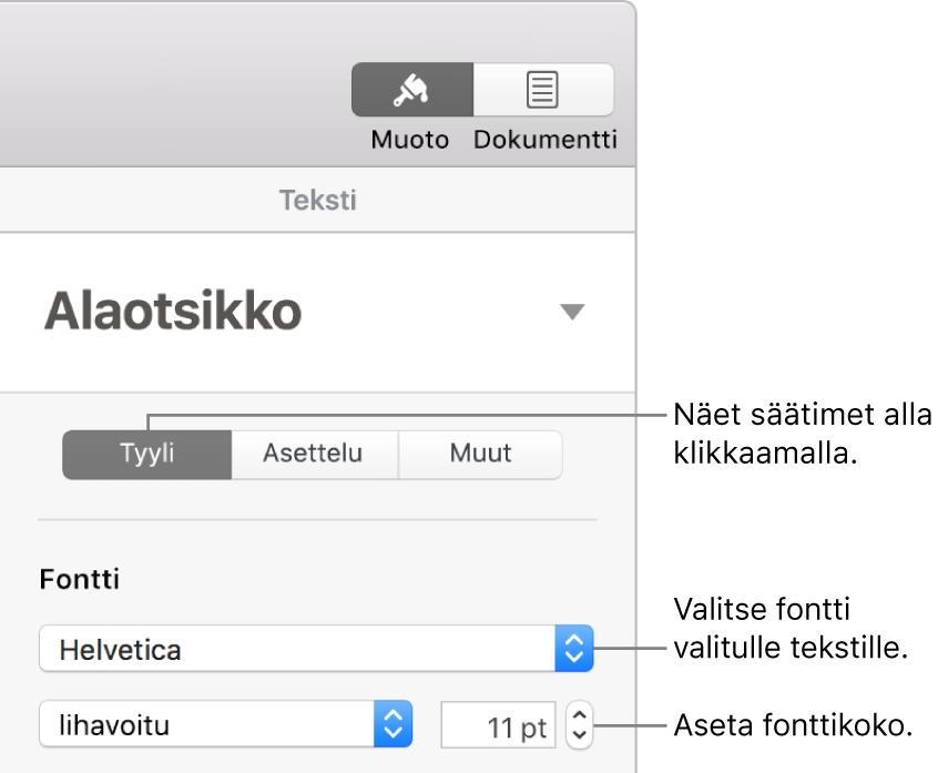 Muoto-sivupalkin Tyyli-osion tekstisäätimet fontin ja fonttikoon asettamiseen.