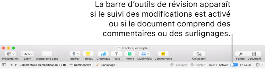 La barre d'outils de Pages avec le suivi des modifications activé et la barre d'outils de révision en dessous.
