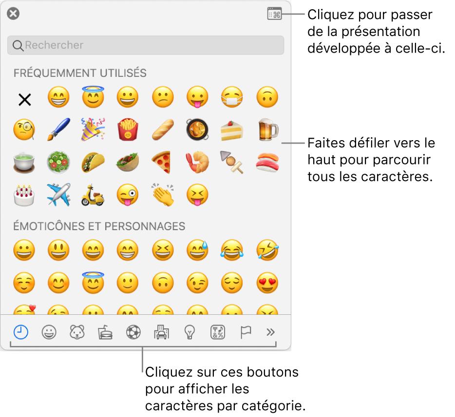 Le menu local Caractères spéciaux affichant des émoticônes, les boutons de différents types de symboles en bas de la fenêtre et la légende d'un bouton pour afficher toute la fenêtre des caractères.