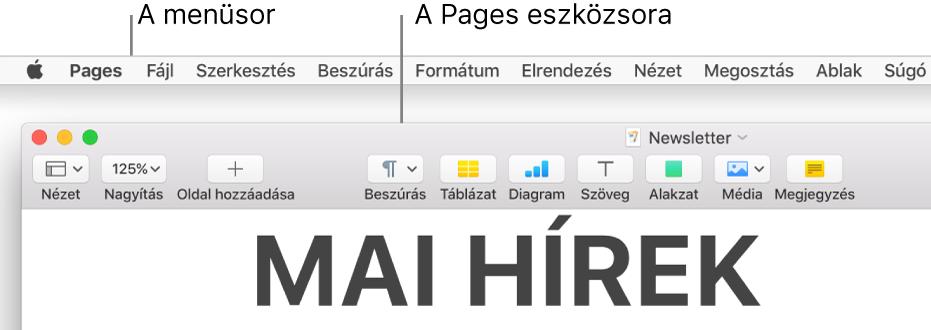 A menüsor a bal felső sarokban található Apple és Pages menüvel, alatta a Pages eszközsor a bal felső sarokban található Nézet és a Nagyítás gombokkal.