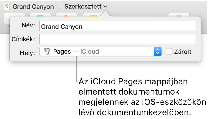 A Mentés párbeszédpanel Pages – iCloud dokumentum esetében a Hely előugró menüben.