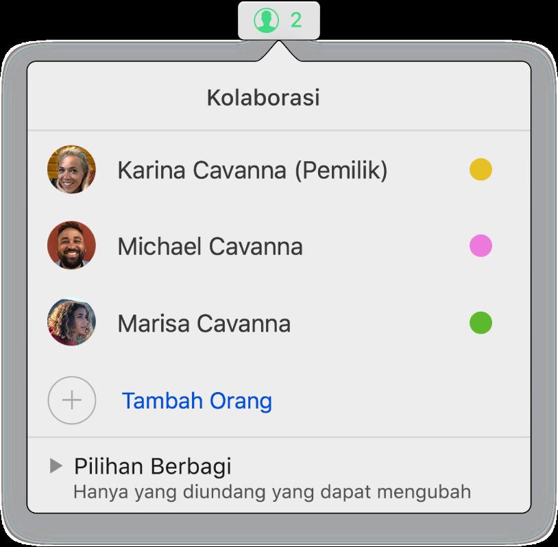 Menu Kolaborasi menampilkan nama orang yang berkolaborasi di dokumen. Pilihan berbagi terdapat di bawah namanya.