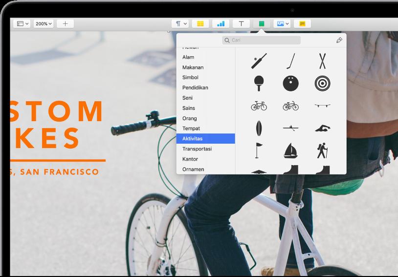 Bar alat dengan tombol untuk menambahkan tabel, bagan, kotak teks, bentuk, dan media. Bentuk dipilih dan menampilkan kategori Aktivitas yang dipilih di bar samping di kiri dan bentuk di kanan.