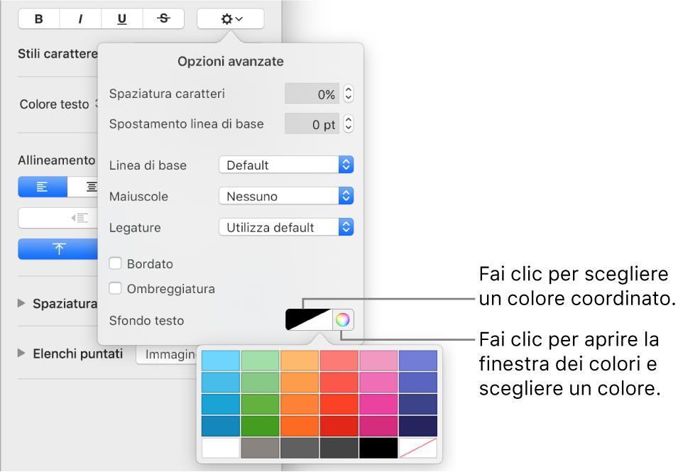 Controlli per scegliere un colore di sfondo per il testo.