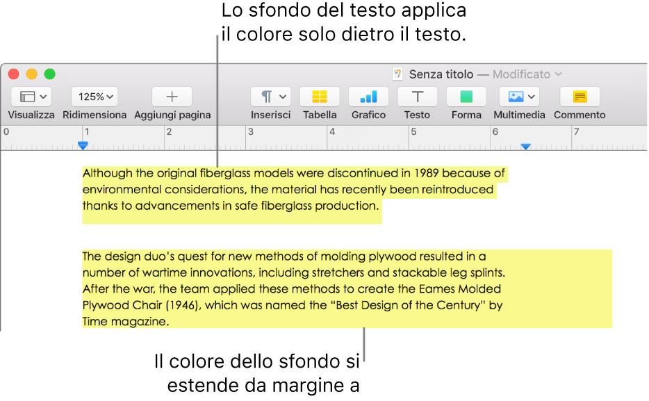 Un paragrafo con un colore soltanto dietro il testo e un secondo paragrafo con un colore che si estende da un margine all'altro dietro il blocco di testo.