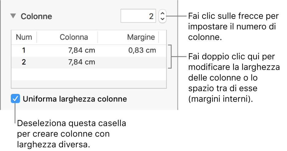 Pannello Layout dell'inspector Formattazione con i controlli delle colonne.