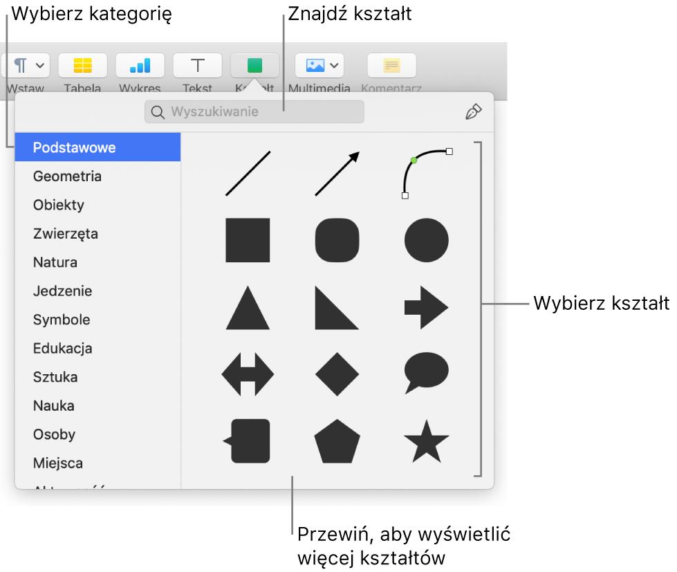Biblioteka kształtów, po lewej widoczna jest lista kategorii, apo prawej wyświetlane są kształty. Możesz użyć znajdującego się na górze pola wyszukiwania, aby wyszukiwać kształty. Przewiń, aby zobaczyć ich więcej.