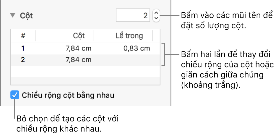 Khung Bố cục của Trình kiểm tra định dạng, hiển thị các điều khiển cột.