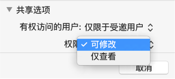 """协作对话框的""""共享选项""""部分,""""权限""""弹出式菜单已打开和""""可更改""""已选定。"""