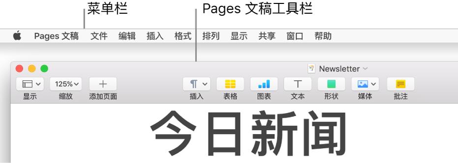 """屏幕顶部的菜单栏是苹果、""""Pages 文稿""""、""""文件""""、""""编辑""""、""""插入""""、""""格式""""、""""排列""""、""""显示""""、""""共享""""、""""窗口""""和""""帮助""""菜单。菜单栏下方是打开的 Pages 文稿,顶部一排是工具栏按钮:显示、缩放、添加页面、插入、表格、图表、文本、形状、媒体和批注。"""
