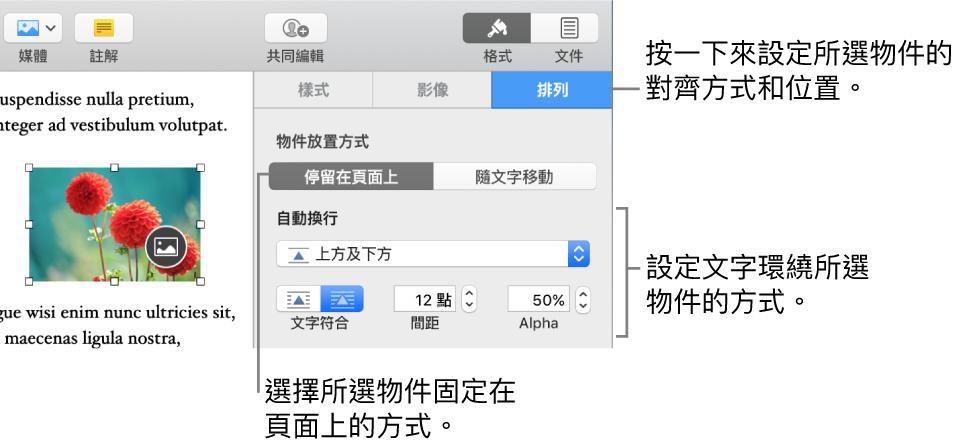 顯示「格式」選單及「排列」側邊欄。「物件放置方式」設定位於「排列」側邊欄的最上方,下方為「文字環繞」設定。