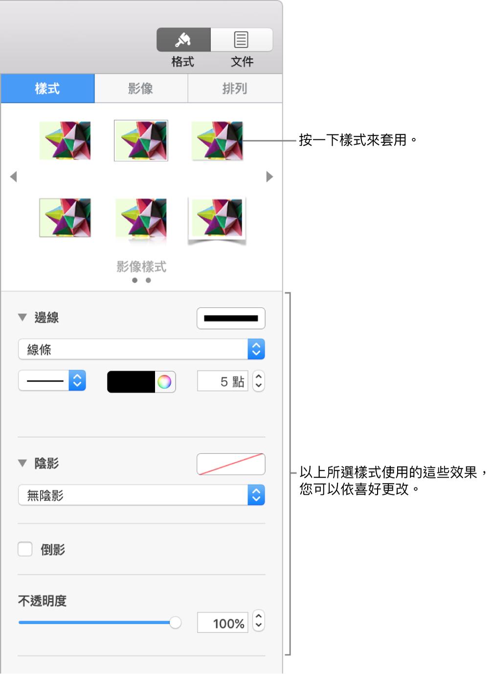 「格式」側邊欄的「樣式」標籤頁,其中顯示物件樣式的選項。