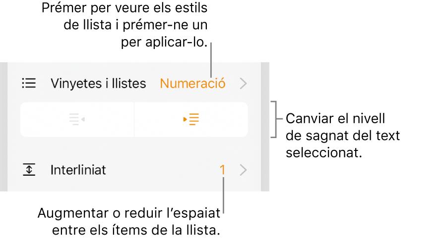 """Els controls de format, amb referències al menú """"Vinyetes/llistes"""", botons de sagnat i controls de l'interlineat."""