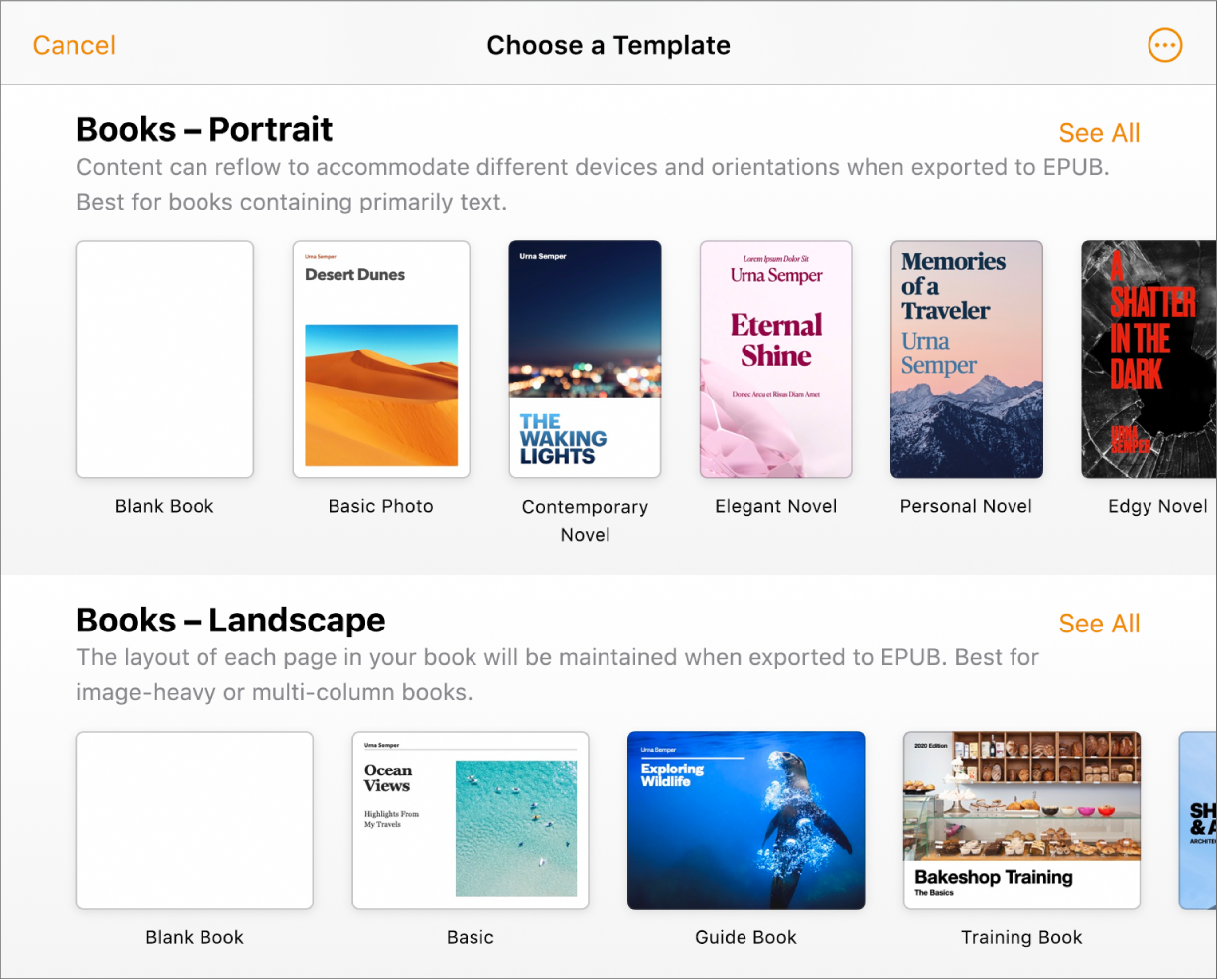 Book Template For Pages from help.apple.com