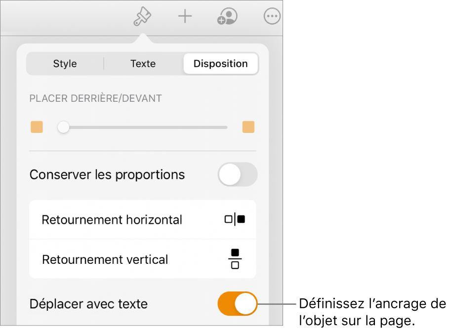 Les commandes Format avec l'onglet Disposition sélectionné et les commandes «Placer derrière/devant», «Déplacer avec texte» et «Ajuster le texte».