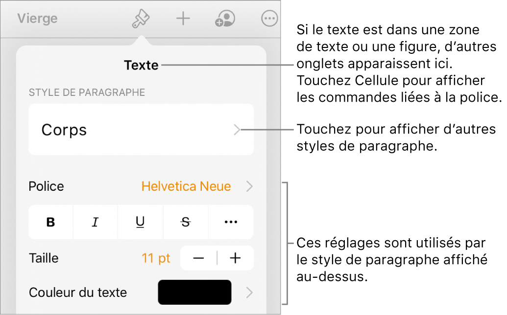 Menu Format montrant les commandes de texte permettant de définir les styles, la police, la taille et la couleur des paragraphes et des caractères.