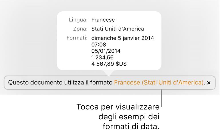 La notifica della diversa impostazione di lingua e zona, con esempi dei formati.