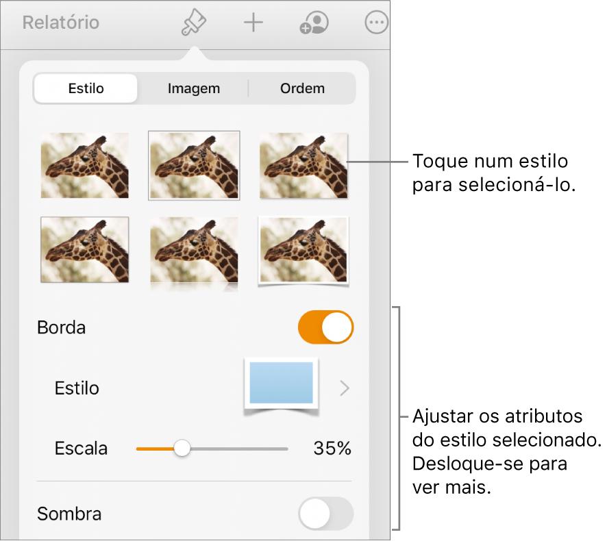 O separador Estilo do menu Formatação com estilos de objeto na parte superior e controlos por baixo para alterar o contorno, sombreado, reflexo e opacidade.
