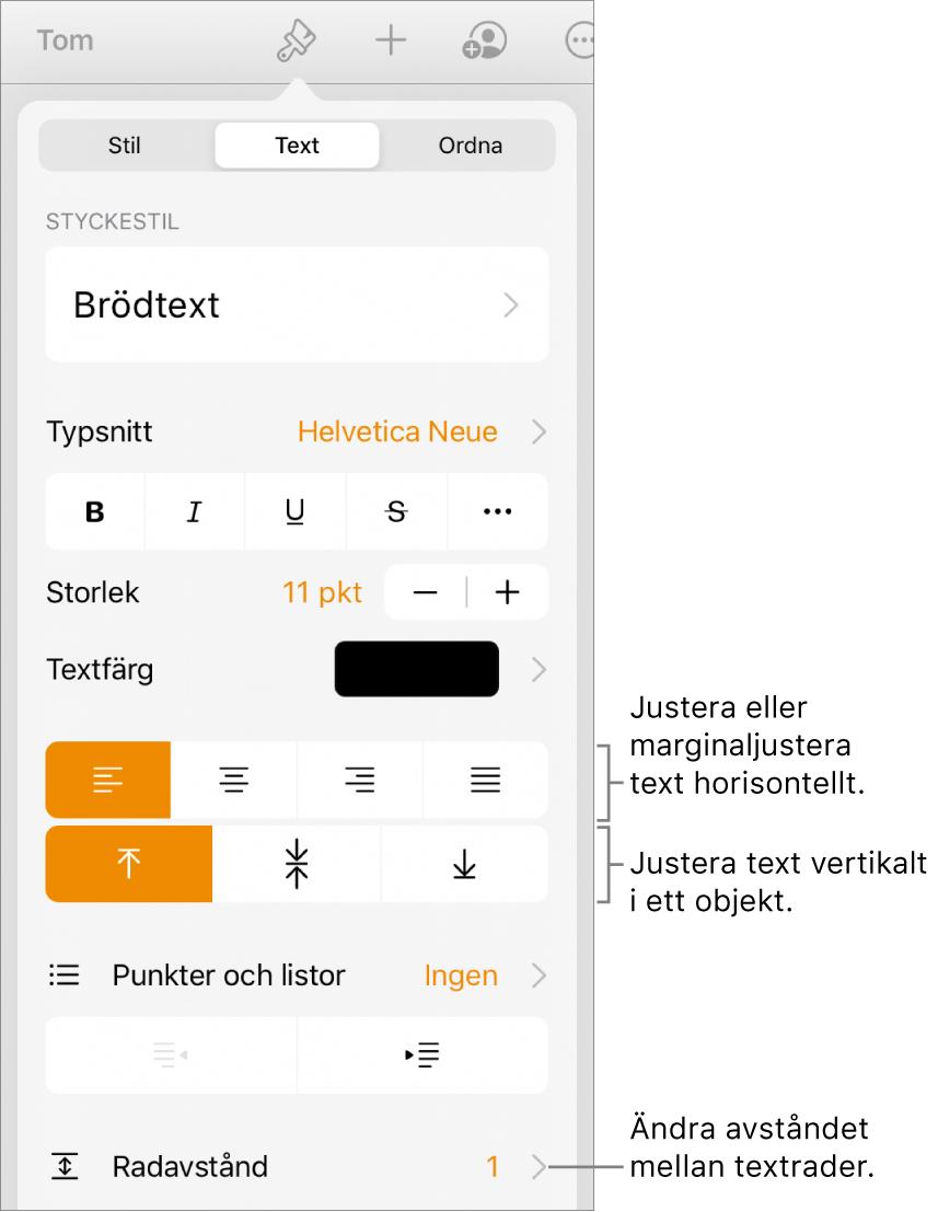 Knappen för formatreglage med fliken Text vald och linjer som pekar på knapparna för textjustering och menyobjektet Radavstånd.