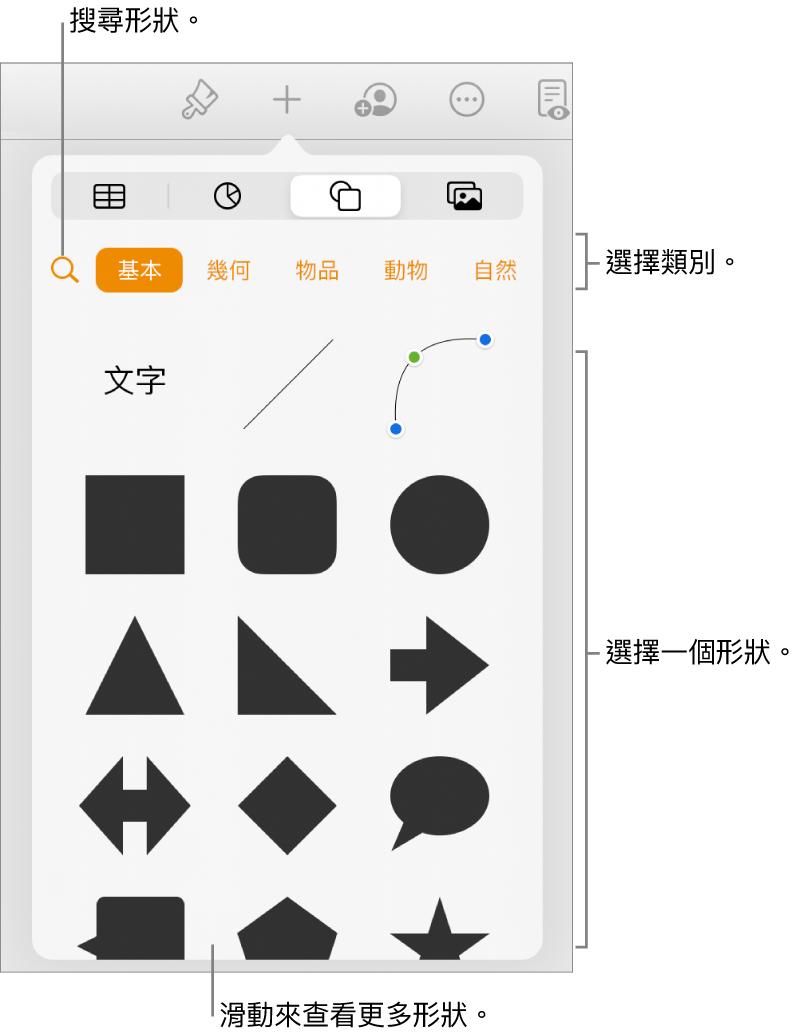 形狀資料庫,最上方是類別,下方顯示形狀。您可以使用最上方的搜尋按鈕來尋找形狀,並滑動來查看更多。