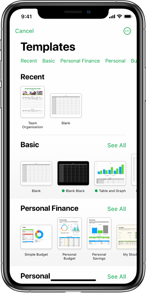 The template chooser, showing a row of categories across the top that you can tap to filter the options. Below are thumbnails of predesigned templates arranged in rows by category, starting with Recent at the top and followed by Basic and Personal Finance. A See All button appears above and to the right of each category row. The Language and Region button is in the top-right corner.