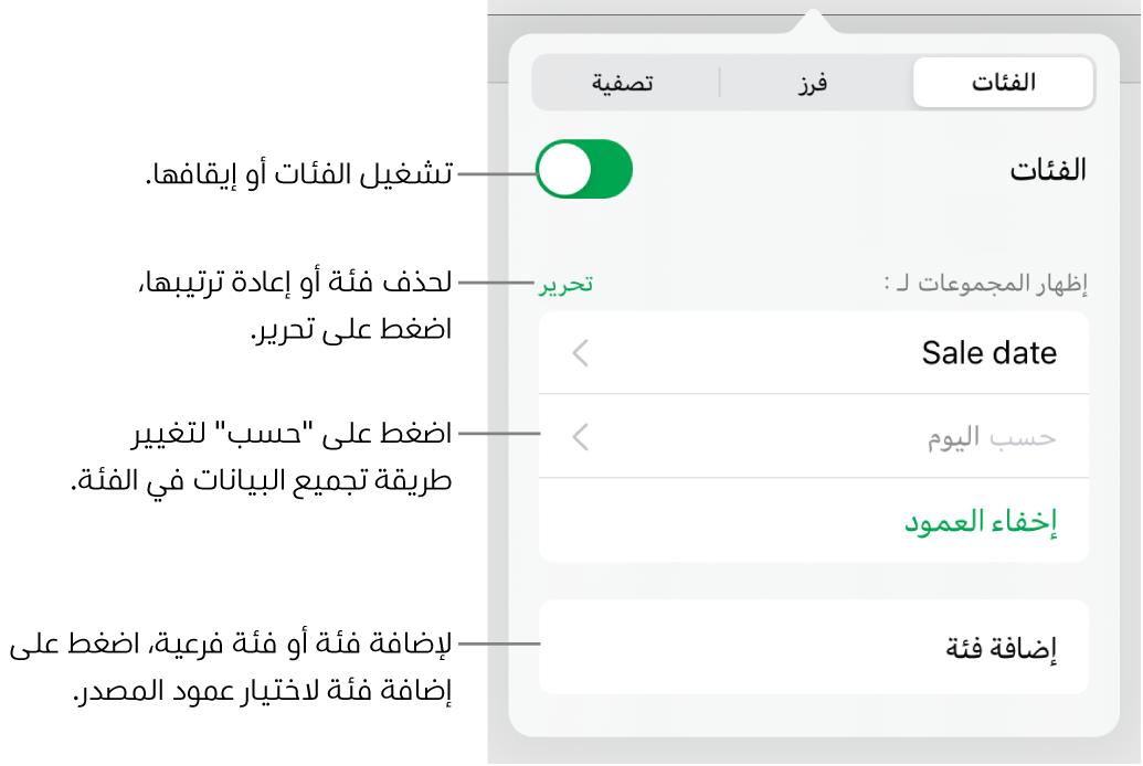 قائمة الفئات لـiPad وتظهر فيها خيارات لإيقاف الفئات وحذف الفئات وإعادة تنظيم البيانات وإخفاء عمود المصدر وإضافة الفئات.