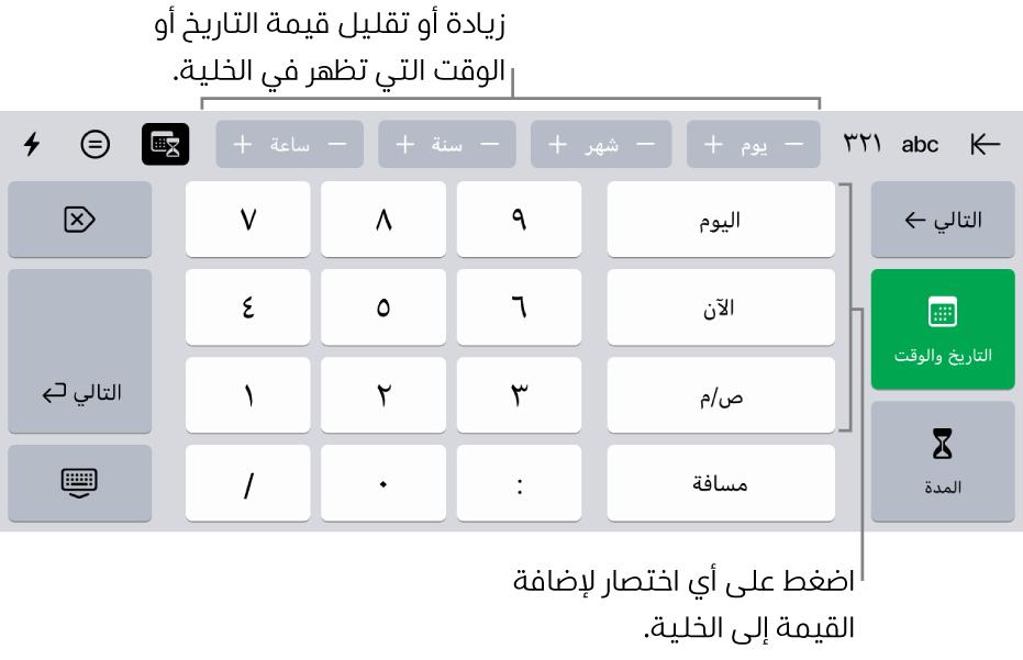 لوحة مفاتيح التاريخ والوقت. تعرض الأزرار في الجزء العلوي وحدات الوقت (الشهر واليوم والسنة والساعة) التي يمكنك زيادتها لتغيير القيمة المعروضة في الخلية. توجد أزرار على اليمين للتبديل بين لوحات مفاتيح التاريخ والوقت والمدة، ومفاتيح الأرقام في منتصف لوحة المفاتيح.