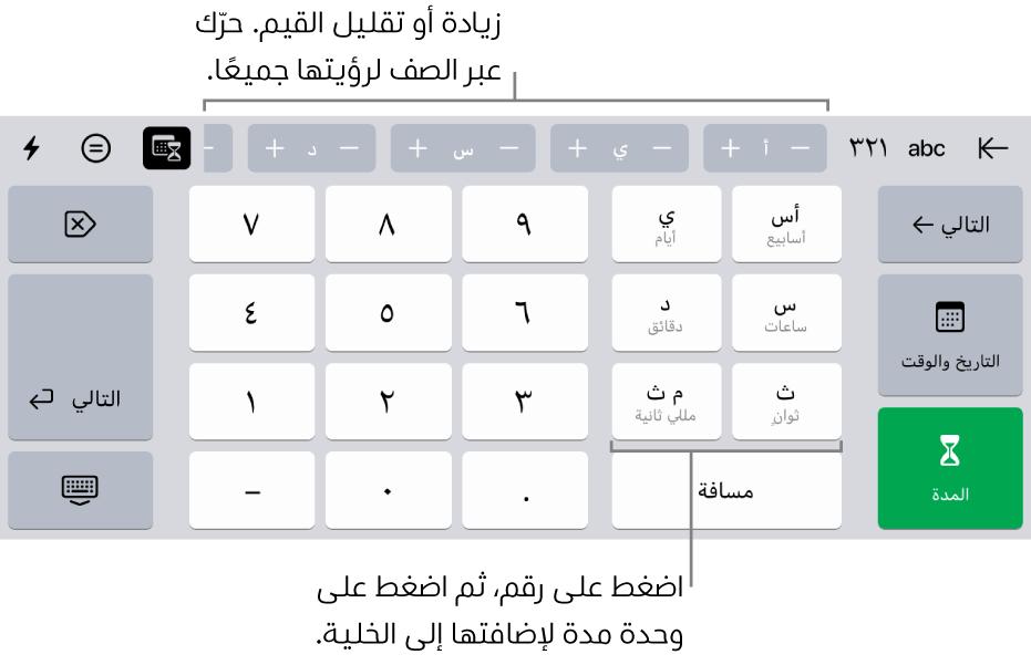 لوحة مفاتيح المدة مع أزرار في منتصف الجزء العلوي تعرض وحدات الوقت (أسابيع وأيام وساعات) التي يمكنك زيادتها لتغيير القيمة في الخلية. توجد مفاتيح على اليمين للأسابيع والأيام والساعات والدقائق والثواني والمللي ثانية. وتوجد مفاتيح الأرقام في منتصف لوحة المفاتيح.