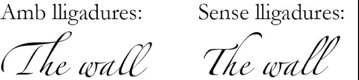 Exemples de text amb lligadures i sense.