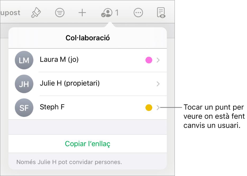La llista de participants amb tres participants i, al costat de cada nom, un punt de diferent color.