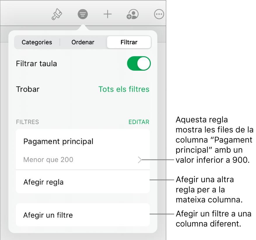 Controls per afegir noves regles de filtre o editar les regles existents.