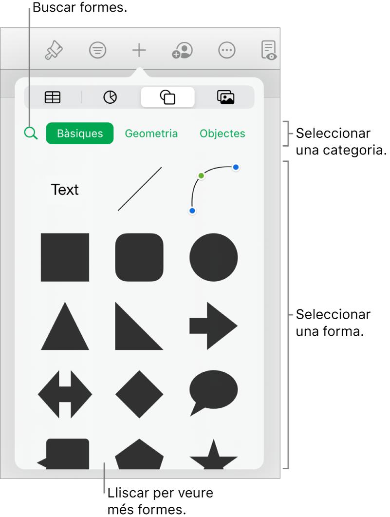 La biblioteca de formes, amb categories a la part superior i les formes a sota. Pots utilitzar el camp de cerca situat a la part superior per trobar formes i passar el dit per veure'n més.