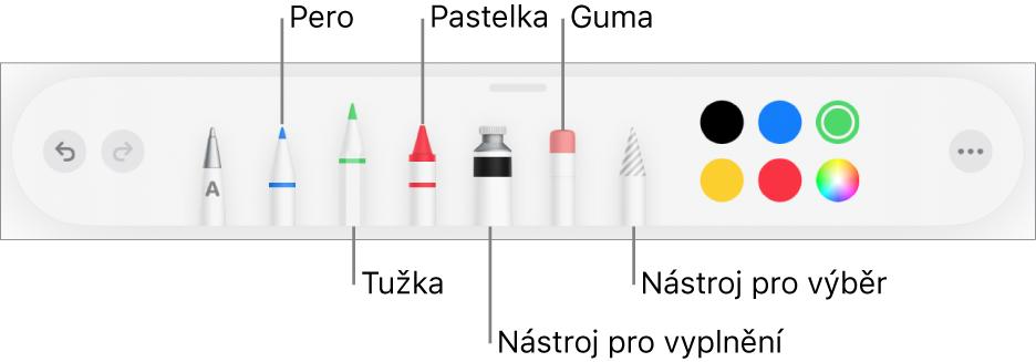 Panel nástrojů pro kreslení obsahující pero, tužku, pastel, nástroj výplň, nástroj pro výběr, gumu avýběr barev. Úplně napravo se nachází tlačítko nabídky Více