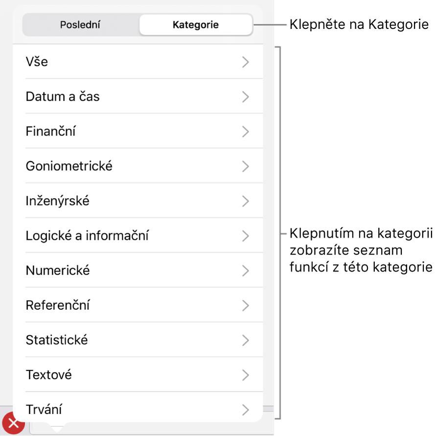 Prohlížeč funkcí svybraným tlačítkem Kategorie aseznamem kategorií pod ním