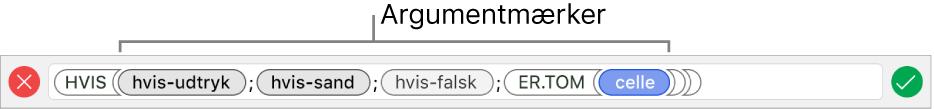 Formelværktøjet, der viser en funktion med argumentmærker.