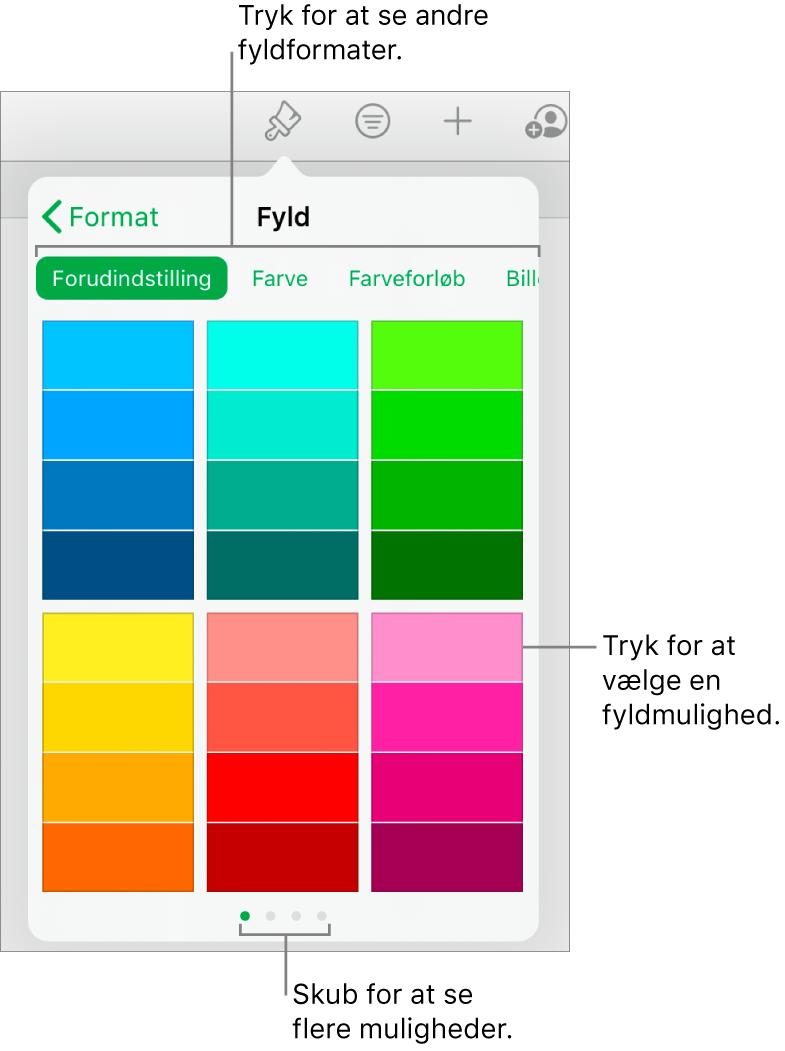 Fyldmuligheder på fanen Format til knappen Format.
