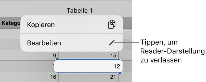"""Eine Tabellenzelle ist ausgewählt und darüber befindet sich ein Menü mit den Optionen """"Kopieren"""" und """"Bearbeiten""""."""