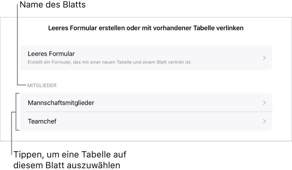 Einige Tabellen in derselben Tabellenkalkulation mit der Option zum Erstellen eines leeren Formulars oben.