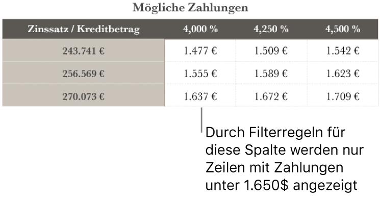 Eine Tabelle mit Ratenzahlungen nach dem Filtern für finanzierbare Tilgungsraten.