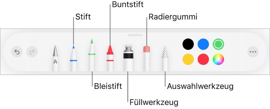 """Die Zeichen-Symbolleiste mit Werkzeugen wie Stift, Bleistift, Buntstift, Füllwerkzeug, Radiergummiwerkzeug, Auswahlwerkzeug und Farben. Ganz rechts befindet sich die Taste """"Mehr""""."""